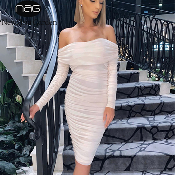 NewAsia Mesh Ruched Elegant Dress Women Long Sleeve Off Shoulder Party Dress Slash Neck Bodycon Midi Dresses Club Night Vestidos women long sleeve off shoulder slash neck dress slim body con knitted sweater sexy club dress knee length party night dresses