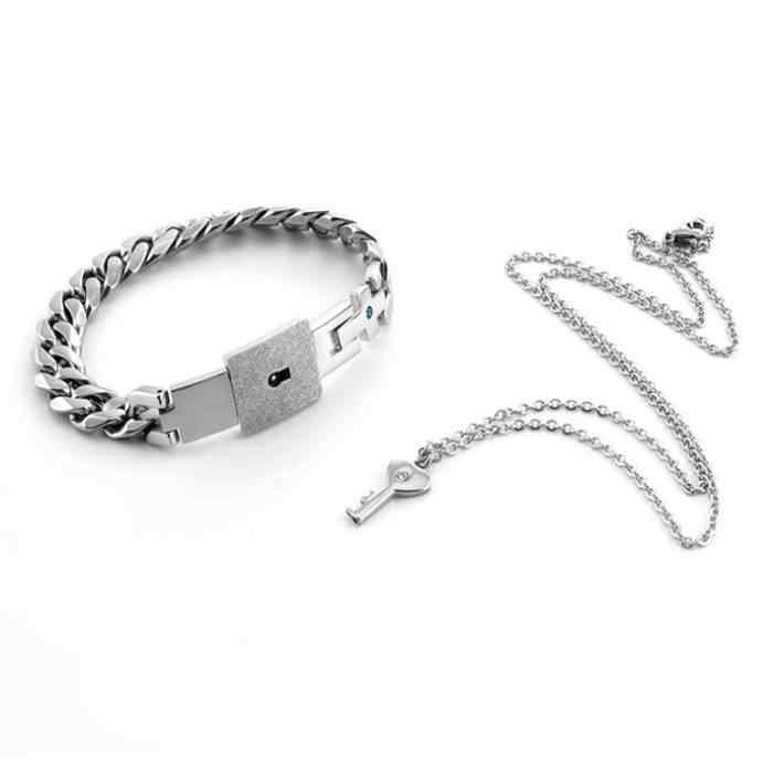 Aço inoxidável coração bloqueio gargantilha colar de cristal pulseira gótico punk preto branco casal pingentes jóias presente dos namorados