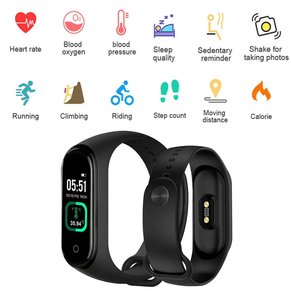 M4 Pro Smart Band Thermometer Nieuwe M4 Band Fitness Tracker Hartslag Bloeddruk Fitness Armband Smart Horloge Voor Android ios