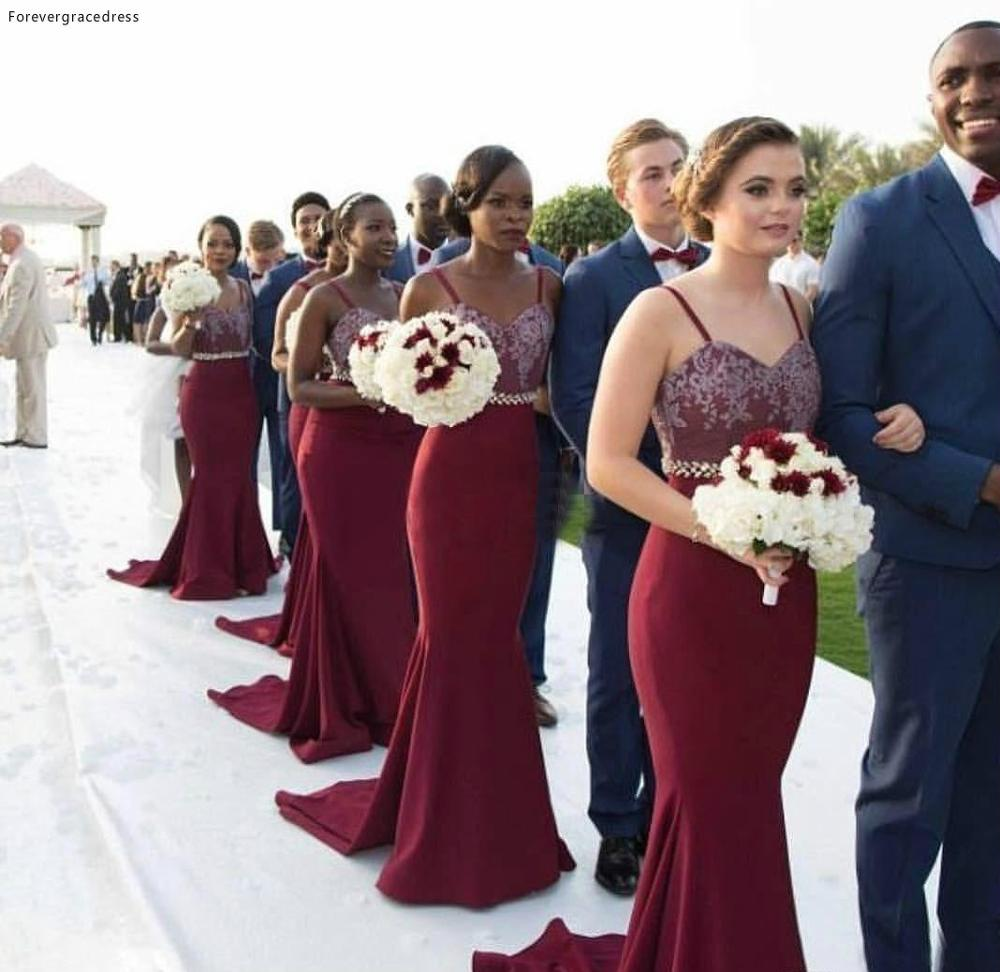 African Burgundy Bridesmaid Dress Vintage Lace For Summer Garden Bridesmaid Gown Plus Size