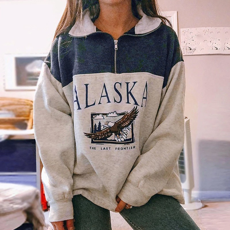 4# Women's Zipper Sweaters Cotton Stand Collar Half Letter Printing Long Sleeve Tops Vintage Grey Casual Loose Sweaters