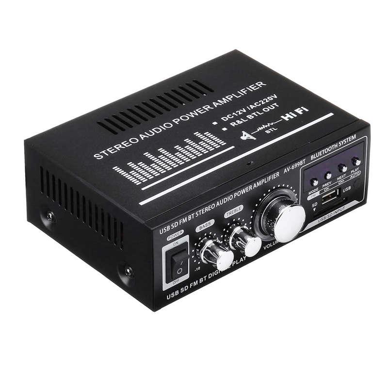 FFYY-Lepy 12V/220V 400W 2 CH Bluetooth Hifi Stereo Amplifier USB SD FM Radio Power Stereo Car Amplifier Audio Home Amplifier