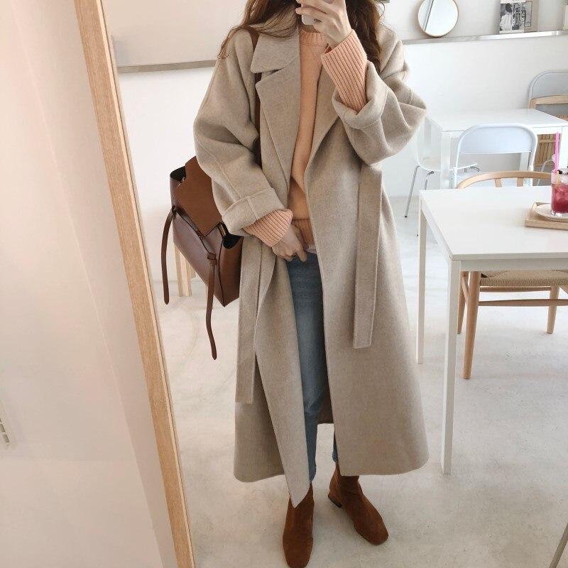 19 Winter Oversize Long Trench Coat Women Cashmere Coat Korean Lady Windbreaker Outwear Streetwear 96