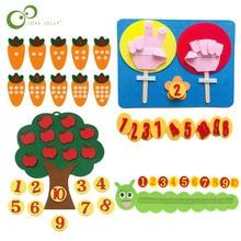 1Set Montessori Educational Toy Children Puzzle DIY Handmade Math Toys Kindergarten Apple Tree Carrot Digital Teaching Aids ZXH