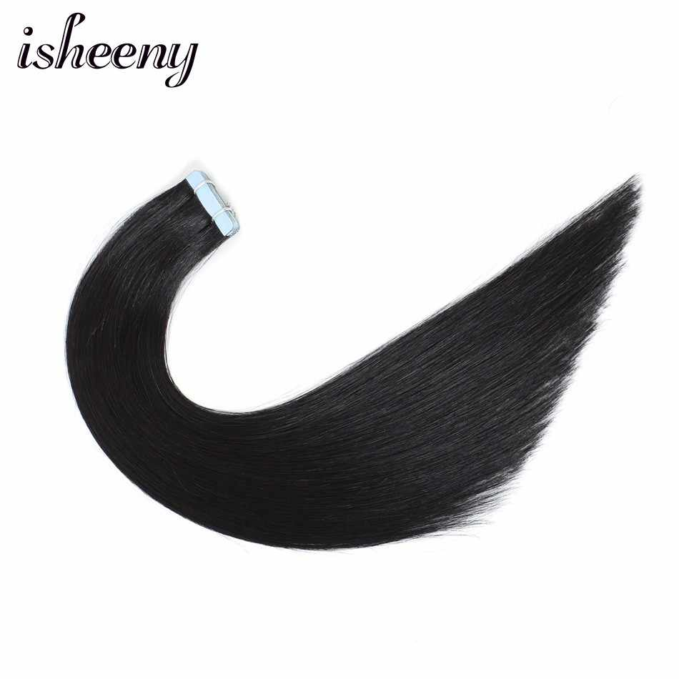 "Isheeny 12""-22"" Remy Seamless Tape In Hair Extensions Straight 1# Black Invisible Skin Weft PU Tape On Hair Extensions"