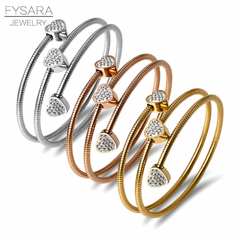 FYSARA Three Circles Cable Wire Bangles & Bracelets for Women Stainless Steel Gold Black Heart Round Crystal Charm Cuff Bracelet