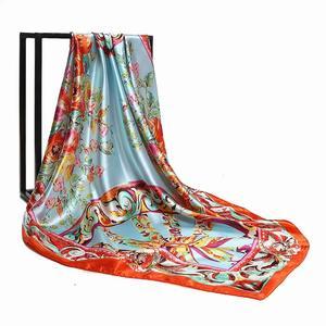 2020 Kerchief Silk Scarf Women Satin Hijab Fashion Print Handkerchief Bag Hair Scarfs Female Square Shawls Neck Scarves DH03