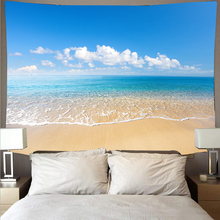 Beautiful sea beach blue sky landscape tapestry polyester wall cloth art tapestry hippie wall hanging psychedelic beach towel janeyu new cosmos star velvet multifunctional polyester tapestry hanging beach towel
