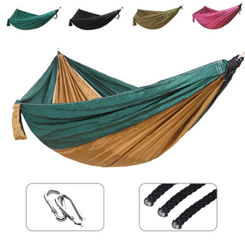 Single Double hammock Nylon hanging bed durable ultra-light Sleeping Bed Swing Outdoor Camping Travel 2 Persons With Carry Bag super strength folding nylon hammock hanging swing hamak beach camping patio sleeping tree bed with 2 strap 2 carabiner