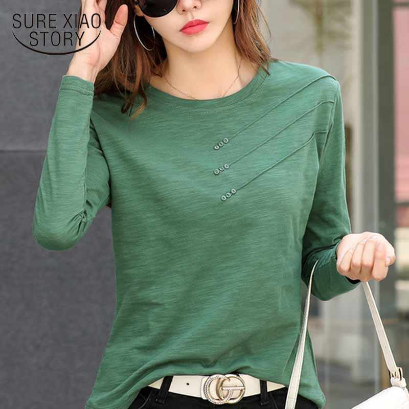 Fashion O-neck Long Sleeve Shirt Women Plus Size Cotton T-shirt Autumn Solid Loose All-match Office Lady Korean Clothes 10800