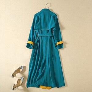 Image 4 - Vivid ブロック色パッチワーク女性の冬のコート長袖サッシベルトダブルブレストボタンレディーストレンチコート