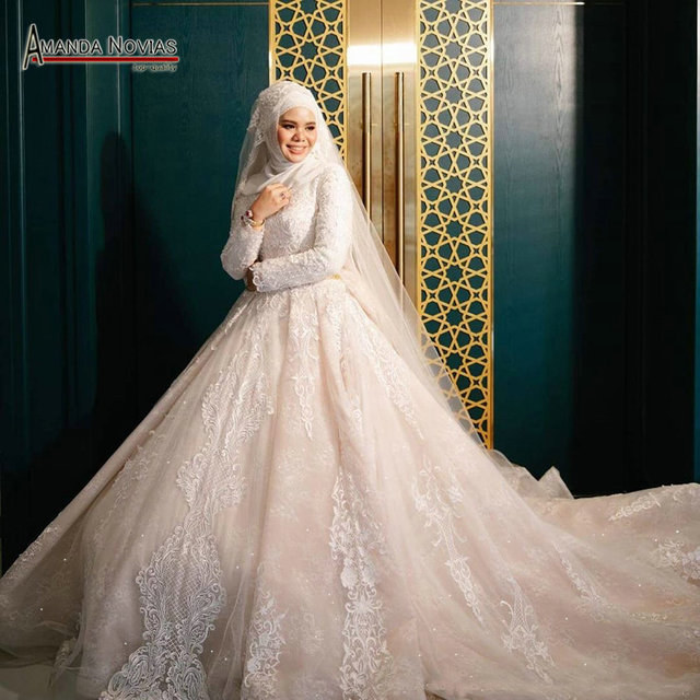 Neue design muslimischen braut kleid hochzeit kleid