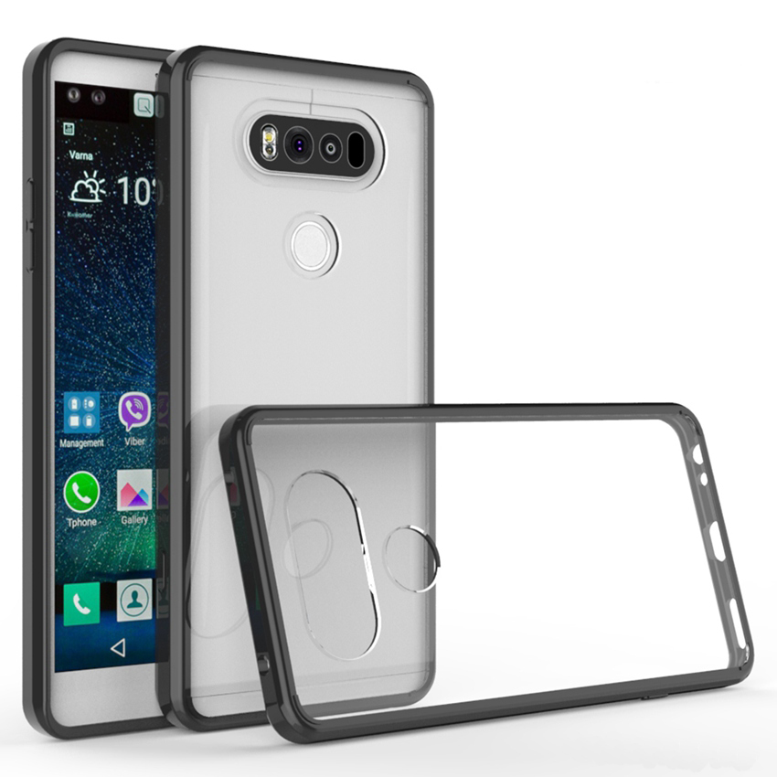 Slim Hybrid Shockproof Cover Transparent Housing Holster Air Cushion Frame Case With Crystal Clear Back Shell Mask For LG V20