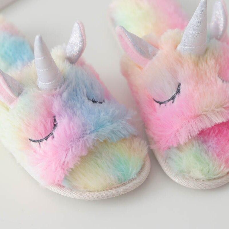 Millffy-cute-colorful-velvet-unicorn-plush-Open-toe-slippers-women-home-indoor-summer-rainbow-unicorn-slippers
