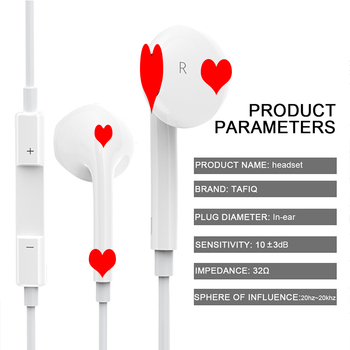 2019 Wired Earphones high quality Headsets With Built-in Microphone 3.5mm In-Ear music headset stereo headset for iPhone Xiaomi 1