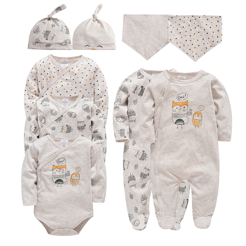 Honeyzone 9pcs/lot Newborn Baby Long Sleeves Bodysuit Set Unisex Cotton Overall Gilrs Owl Pattern Clothing Toddler Boys Jumpsuit