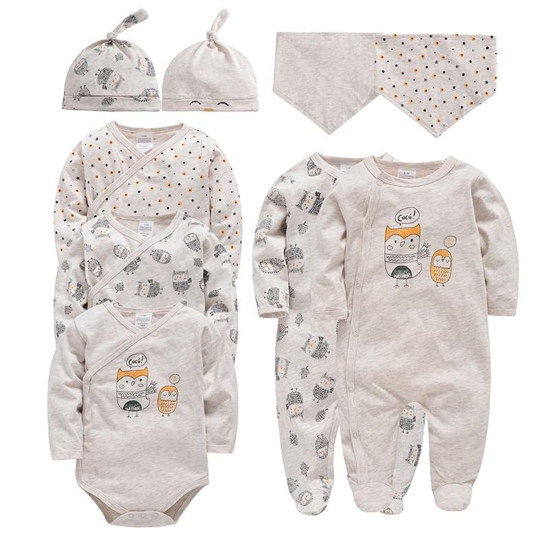 Honeyzone 9pcs/lot Newborn Baby Long Sleeves Bodysuit Set Unisex Cotton Overall Gilrs Owl Pattern Clothing Toddler Boys Jumpsuit