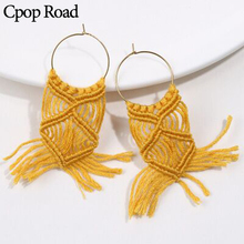 Cpop New Boho Ethnic Handmade Macrame Earring Fashion Feather Fringe Tassel Earrings Women Accessories Bridesmaid Gifts Jewelry
