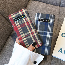 YHBBCASES Retro Plaid Stoff Harte PC Fällen Für Samsung Galaxy S10 5G S10e Grid Tuch Textur Winter Warm Checkered telefon Abdeckung(China)