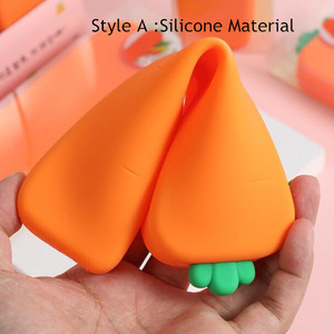 2020 Sharkbang Creative Carrot Series Silicone Soft Pencil Case Penholder Organizer Bag Kawaii Stationery Set Kids Birthday Gift