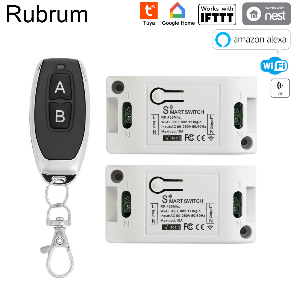 Rubrum Wifi Switch Smart Switch AC 220v Smart Home Remote Wireless Light Switch Module Works Alexa Google Home Tuya Smart Life
