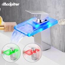 Смеситель для раковины ванной со стеклянным светодиодным водопадом, латунный кран для умывальника, крепление на раковину