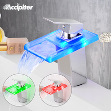 Bathroom Waterfall Led Basin Faucet Glass Waterfall Brass Made Basin Faucet Bathroom Mixer Tap Deck Mounted basin sink Mixer Tap