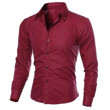 80%HOT Men Fashion Solid Color Turn Down Collar Long Sleeve SlimS1 FitS1 Blouse Shirt Top