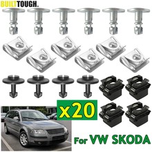 20PCS Under Engine Cover Clips Undertray Underbody Gearbox Splash Guard Fastener Shield Fixing Fitting Screw Kit For Passat B5 SKODA Superb I Auto Replacement