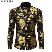 גברים של זהב עלה יוקרה עיצוב שמלת חולצות 2019 סתיו חדש Slim Fit כפתור למטה פרחוני מודפס אופנתי המפלגה מועדון חולצה S XL