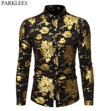 Erkek altın gül lüks tasarım elbise gömlek 2019 sonbahar yeni Slim Fit düğme aşağı çiçekli baskılı şık parti kulübü gömlek S XL