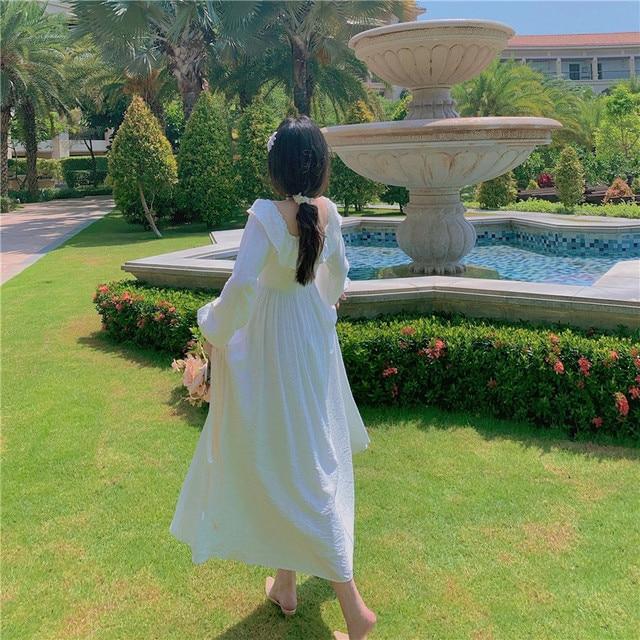 Long White Fairy Princess Dress Elegant Long-Sleeve 6