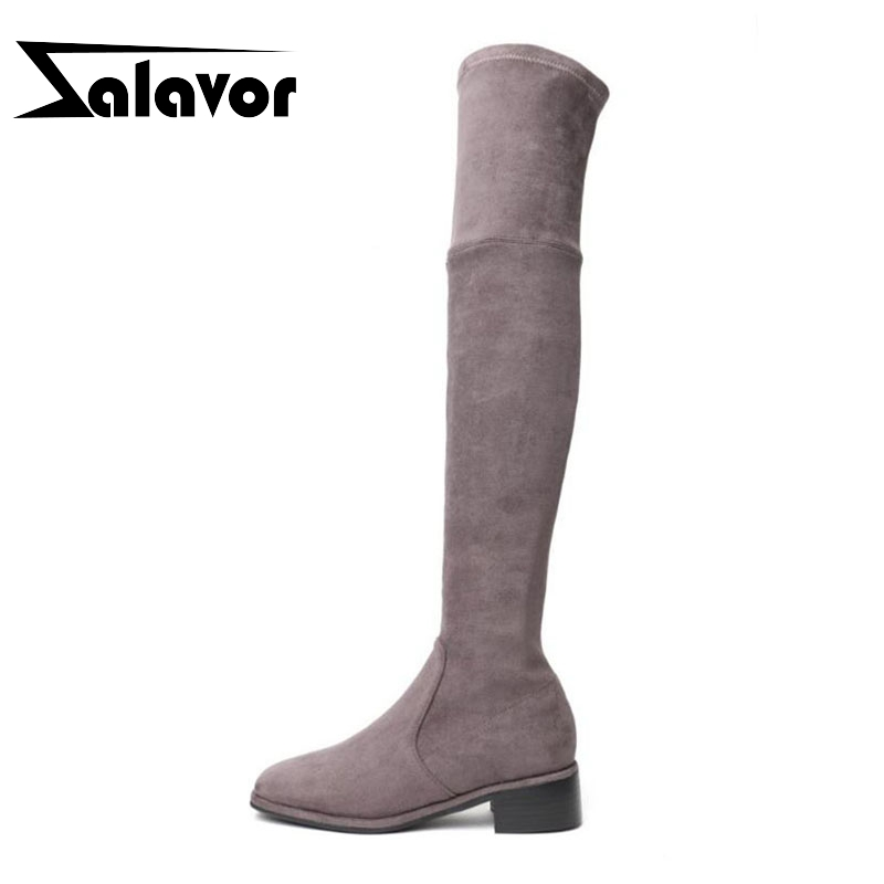 ZALAVOR Sexy Women High Heel Boots Real Leather Warm Fur Shoes Women Winter Knee Stretch Boots Knee High Footwear Size 34-39