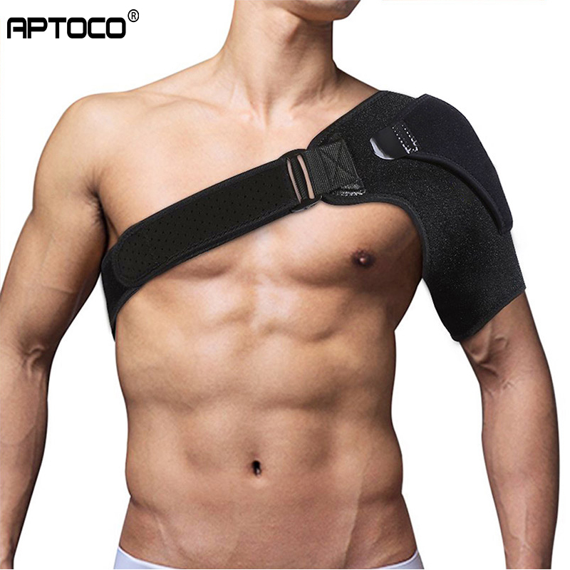 Aptoco Shoulder Bandage Protector Brace Joint Pain Injury Shoulder Support Strap Training Sports Equipment Adjustable Left/Right