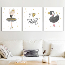Nursery Wall Art Canvas Painting Cute Girl Swan Nordic Quote Posters And Prints Kids Room Decoration Modern Decor