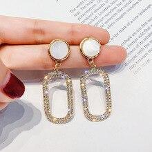 Shine Rhinestone Geometric Drop Earrings for Women Bijoux Gold Silver Color Water Drop Dangle Earring Wedding Jewelry Gift цена и фото