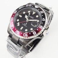 BLIGER 40 ミリメートル PVD ケース Ceremic セラミックベゼルサファイアガラス発光 GMT 自動ムーブメントメンズ腕時計男性