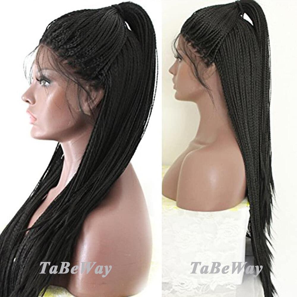 Парики с кружевом TaBeWay, черные микро косички с детскими волосами, без клея, Длинные плетеные синтетические парики с кружевом спереди для чер
