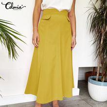 Summer Skirt Bohemian Oversized A-Linen High-Waist Women's Solid Celmia Casual Spring