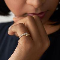 Anillo de circonia cúbica transparente para mujer, joyería Simple, Color dorado, Micro pavé, Circonia cúbica, Zirconia, circonita, zirconita, ajuste abierto