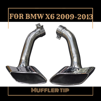 One pair Modified Car Rear Stainless Steel exhaust pipe square mouth Muffler Tips tail pipe with Covers fit BMW X6 in 2009-2013 image