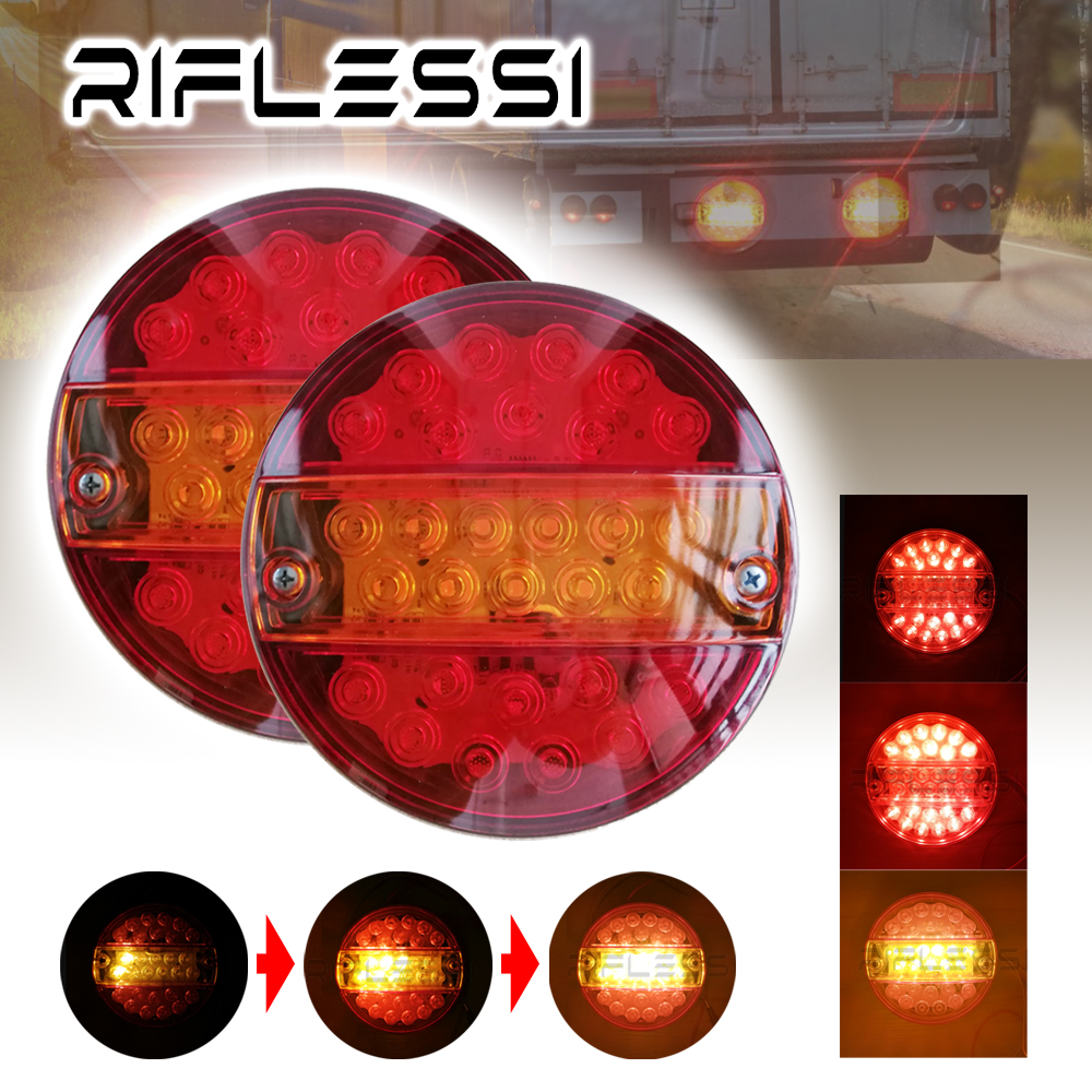 2 x 12V 24V Truck Trailer Round Tail Lights LED Sequential Turn Signal Brake Boat ATV Car Rear Light Lorry Tail Lamp