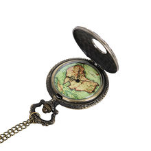 Fashion Quartz Pocket Watch Big World Map Stone Vintage Necklace Pendant Fob Watches Clock Chain For Men Women Gifts Часы Мужски(China)