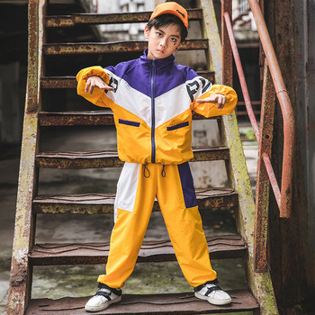 Boys Hip Hop Dance Costumes Jazz Performance Clothing Stitching Hiphop Rave Outfit Children Street Dance Practice Wear DC4249