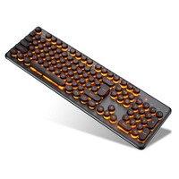 Gaming mechanische Tastatur 104 Tasten RGB Backlit Retro Runde Glowing Keycap Metall Panel USB Verdrahtete Beleuchtet Grenze Wasserdicht
