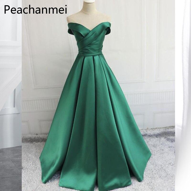 Robes De soirée élégantes à épaules dénudées 2019 robe De soirée en Satin Sexy vert fente haute grande taille longue robe De Festa