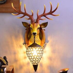 Image 3 - Deer Antler industrial design vintage wall lamp For Farmhouse Kitchen Bar wall decor light Background Bedside horn Lamp Fixtures