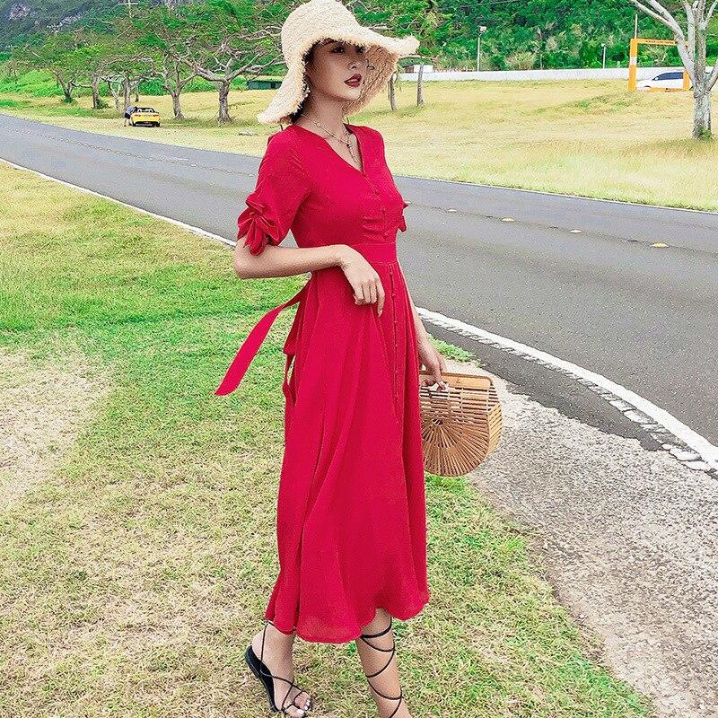 Bali Phuket Hainan Sanya Beach Skirt Women's Slimming Seaside Holiday Dress Thailand Red Dress