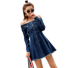 Women Summer Denim Dress Sexy Off Shoulder jeans Strapless Casual Mini dress