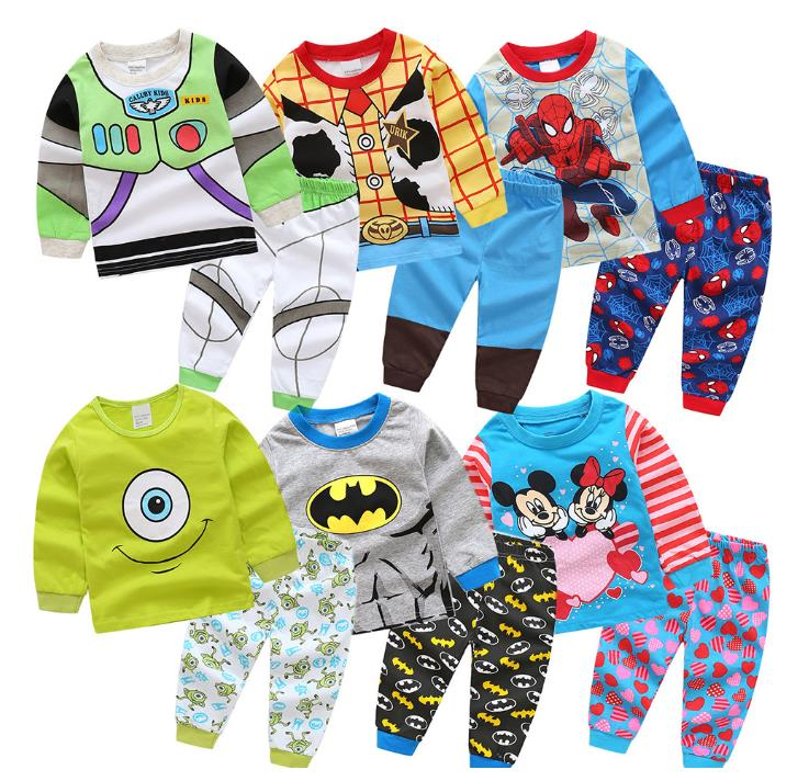 Children Boys Girls Pajamas Cool Cartoon Sweatshirt Pants Clothing Set Princess Tops Tee Spring Clothes Hoodie Toy Story Cosplay